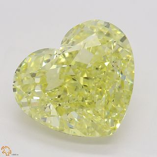 5.01 ct, Natural Fancy Intense Yellow Even Color, VS1, Heart cut Diamond (GIA Graded), Unmounted, Appraised Value: $326,600