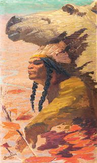 """Charles Lewis Fox, Am. 1854-1927, """"Forever Indian"""" 1920, Oil on canvas, unframed"""