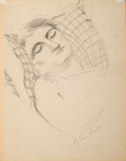 """Milton Avery, Am. 1885-1965, """"Sleeping Beauty"""" 1932, Pencil on paper, matted and framed under glass"""
