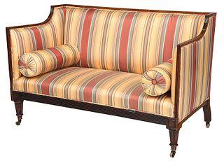 Regency Mahogany Striped Silk Upholstered Sofa