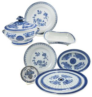 Seven Pieces Blue and White Chinese Export