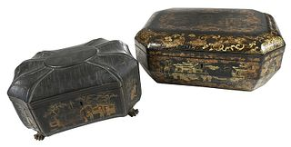 Two Chinese Export Black Lacquer and Gilt Boxes