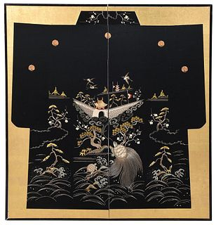 Large Two Panel Japanese Embroidered Screen