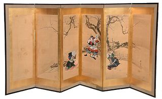 Japanese Screen of Yoshitsune and Benkei