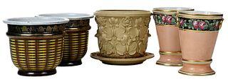 Pair British Porcelain Cachepots, Three Others