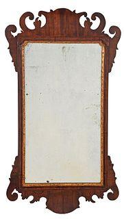 Chippendale Figured Mahogany Mirror