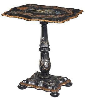 Mother of Pearl Inlaid Gilt Papier Mache Table