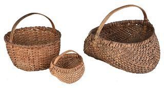 Three Southern Split Oak Baskets