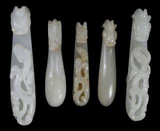 Five Carved Hardstone Belt Hooks