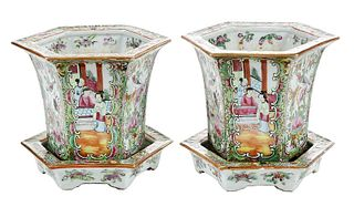 Pair Rose Medallion Jardinieres and Stands