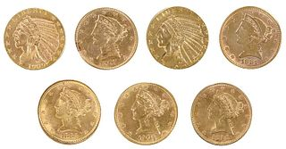Seven $5 Gold Coins
