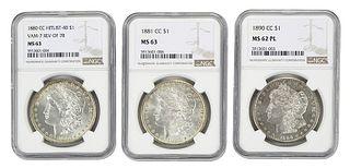 Group of Three Carson City Morgan Silver Dollars