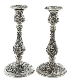Pair Kirk Repousse Sterling Candlesticks