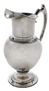 Large New Orleans Coin Silver Pitcher