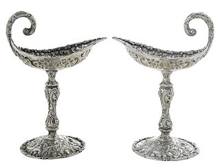 Pair Repousse Sterling Compotes