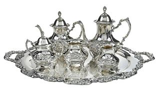 Crest of Windsor Sterling Tea Service, Plated Tray