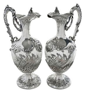 Pair of French Silver and Glass Ewers