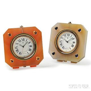 Two Hardstone Table Clocks, Verdura
