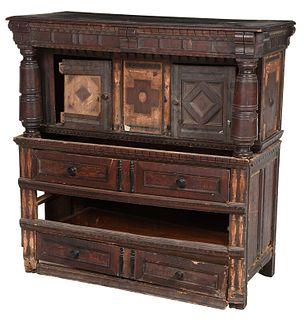 Rare Pilgrim Century American Court Cupboard