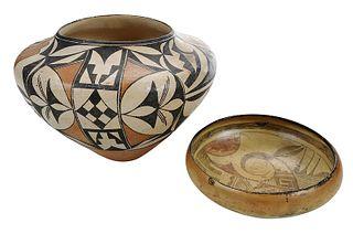 Large Acoma Olla and Hopi Bowl