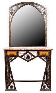 Edgar Brandt Attr. Art Deco Console & Mirror