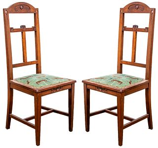 Aesthetic Movement Carved Oak Side Chairs, 2