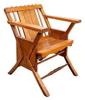 Aesthetic Movement Oak Lounge Deck Chair