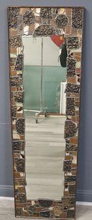 Vintage Brutalist Style Leaded Metal Mirror.