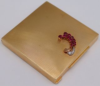 GOLD. Dunhill 14kt Gold, Ruby and Diamond Vanity
