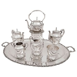 COFFEE AND TEA SET MEXICO, 20TH CENTURY, STERLING SILVER 0.925, Smooth design and chiseled edges, Total weight: 9.711 g