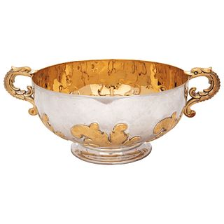 """FRUIT BOWL, MEXICO, 20TH CENTURY, TANE Silver with vermeil, Decorated with plant motifs and two side handles, 4.3 x 6.6 x 7.4"""" (11 x 17 x 19 cm), Weig"""