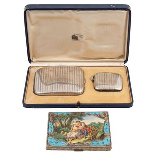 MIXED LOT FRANCE/GERMANY EARLY 20TH CENTURY Sterling Silver Consists of cigarette cases and matchbox 294 g