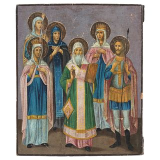"""RUSSIAN ICON, 19TH CENTURY, PROPHET AND SAINTS, Oil on wood Conservation details 12.5 x 10.6"""" (32 x 27 cm)"""