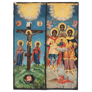 """RUSSIAN ICON, 19TH CENTURY, CRUCIFIED CHRIST AND ANGELS Oil on wood Conservation details 10.2 x 7.6"""" (26 x 19.5 cm)"""