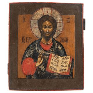 """RUSSIAN ICON, 19TH CENTURY CHRIST PANTOCRATOR Oil on wood Conservation details 12.2 x 10.6"""" (31 x 27 cm)"""