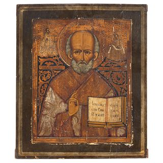 """RUSSIAN ICON, 19TH CENTURY ST NICHOLAS Oil on wood Conservation details 12.2 x 10.2"""" (31 x 26 cm)"""