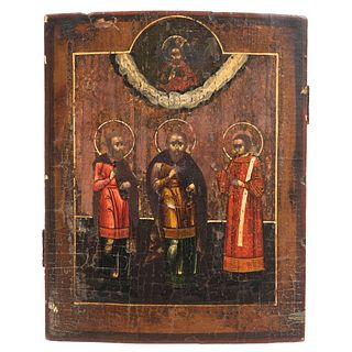 """RUSSIAN ICON, 19TH CENTURY IMAGES OF SAINTS Oil on wood Conservation details 10.6 x 8.2"""" (27 x 21 cm)"""