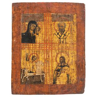 """RUSSIAN ICON, 19TH CENTURY THEOTOKOS, ST NICHOLAS, ST GEORGE & CHRIST Oil on wood Conservation details 10.6 x 8.2"""" (27 x 21 cm)"""