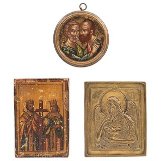 """LOT OF THREE RUSSIAN ICONS, 19TH CENTURY Oil on wood and one bronze plaque Conservation details 6.4 x 4.4"""" (16.5 x 11.3 cm)"""