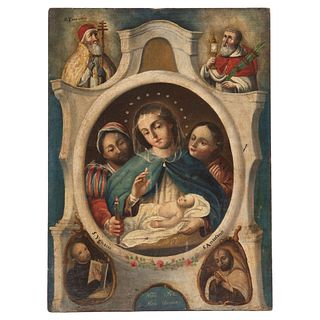 """OUR LADY OF ALTAGRACIA MEXICO, 19TH CENTURY Oil on canvas Conservation details 16.5 x 12.2"""" (42 x 31 cm)"""