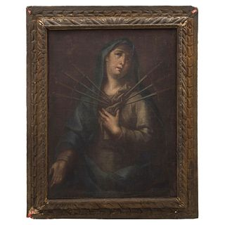 """OUR LADY OF SORROWS OIL ON CANVAS MEXICO, 18TH CENTURY Oil on canvas Conservation details 34.6 x 26.7"""" (88 x 68 cm)"""