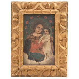 """OUR LADY OF REFUGE MEXICO, 19TH CENTURY Oil on sheet Conservation details 9.8 x 6.2"""" (25 x 16 cm)"""