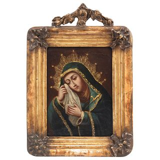 """OUR LADY OF SORROWS MEXICO, 18TH CENTURY Oil on canvas Frame in carved and gilded wood Inscription on back 8.8 x 11.8"""" (22.5 x 30 cm)"""
