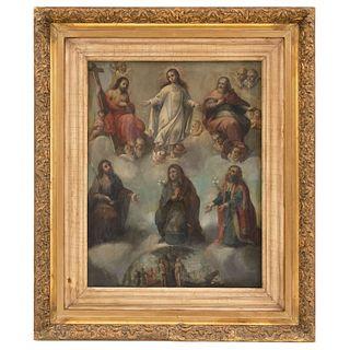 """ANONYMOUS MEXICO, 18TH CENTURY ALEGORÍA DE LA CONCEPCIÓN DE MARÍA Oil on copper sheet 23.6 x 18.1"""" (60 x 46 cm)"""