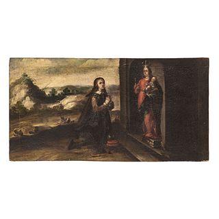 "ESCENA DE MADONA CON DONANTE. MEXICO, 18TH CENTURY. Oil on canvas. 16.5 x 32"" (42 x 81.5 cm)"