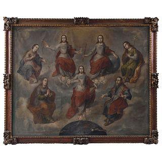 """SANTÍSIMA TRINIDAD RODEADA POR LA VIRGEN MARÍA, SAN JOSÉ, SANTA ANA Y SAN JOAQUÍN MEXICO, 18TH CENTURY Oil on canvas 82.6 x 65.7"""" (210 x 167 cm)"""