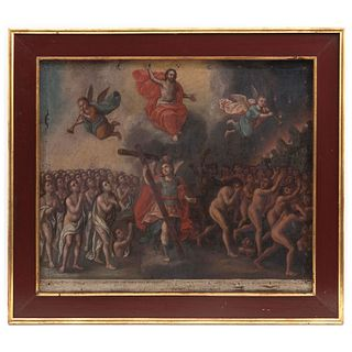 """EL JUICIO FINAL 18TH CENTURY Oil on canvas Illegible sign Conservation details Perforations and tears 20 x 24"""" (51 x 61 cm)"""