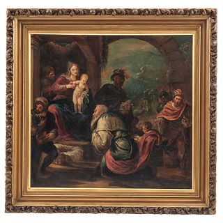 """ADORACIÓN DE LOS REYES MAGOS 19TH CENTURY Oil on canvas Conservation details 22.8 x 24"""" (58 x 61 cm)"""