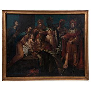 """ADORACIÓN DE LOS REYES MAGOS MEXICO, 18TH CENTURY Oil on canvas on wood 44 x 35.4"""" (112 x 90 cm)"""