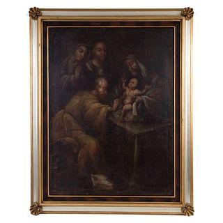 """LA CIRCUNCISIÓN DE JESÚS MEXICO, 18TH CENTURY Oil on canvas 39.9 x 29.5"""" (101.5 x 75 cm)"""